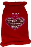 Zebra Heart Rhinestone Knit Pet Sweater SM Red
